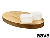 Aava - Ellipse Wooden Serving Platter, 2 Cups