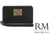 Robert Matthew Aria 24K Gold Leather Wallet Wristlet - Black Diamond