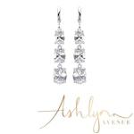 Ashlynn Avenue - Karine in the Rain, Silver-Plated, 11.2 Ctw Trio-Drop Earrings