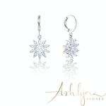 Ashlynn Avenue – Symphony Thea 18K White-Gold Plated 4.9 Ctw Floral Drop Earrings