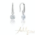 Ashlynn Avenue – Symphony Faye 18K White-Gold Plated 2.6 Ctw Button Drop Earrings