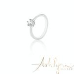 Ashlynn Avenue - Symphony Luna 18K White-Gold 0.4 Ctw Plated Ring - Size 8