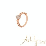 Ashlynn Avenue - Emrys 18K Rose-Gold Plated Link Ring with Large Center Stone 0.32 Ctw - Size 6