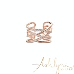 Ashlynn Avenue - Emrys 18K Rose-Gold Plated Tiered Wrap Ring 0.45 Ctw - Size 6