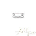 Ashlynn Avenue - Aurora 18K White Gold-Plated Echo Ring with Pavé Gemstones 0.52 Ctw - Size 6