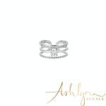 Ashlynn Avenue - Aurora 18K White Gold-Plated Trio Wrap Ring with Center Stone 0.52 Ctw - Size 6