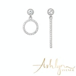 Ashlynn Avenue - Aurora 18K White Gold-Plated Asymmetric Earrings