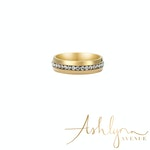 Ashlynn Avenue - Solare 18K Yellow Gold-Plated Ring with Pavé Gemstones 0.93 Ctw - Size 7