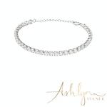 Ashlynn Avenue - Aurora 18K White Gold-Plated Pavé Gemstone Bracelet 9 Ctw