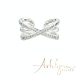 Ashlynn Avenue - Aurora 18K White Gold-Plated Echo Ring with Pavé Gemstones 0.44 Ctw - Size 6