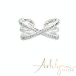 Ashlynn Avenue - Aurora 18K White Gold-Plated Echo Ring with Pavé Gemstones 0.44 Ctw - Size 7