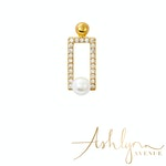 Ashlynn Avenue - Nile Pearl in A Box 18K Yellow Gold-Plated Earrings 0.72 Ctw