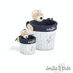 Emilie et Theo - Paul the sailor bear round basket set