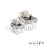 Emilie et Theo - Bernard the elephant rectangle basket set