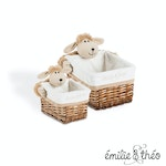 Emilie et Theo - Lucile the hairy sheep rectangle basket set