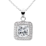 Cate & Chloe - Ivy 'Faithful' 18k White Gold Plated Princess Cut Cz Crystal Pendant Necklace